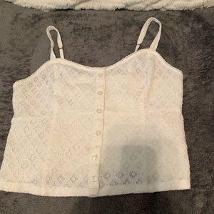 White Button Lace Tank Top